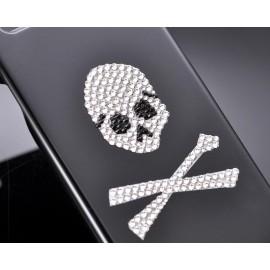 Skull Crossed Bling Swarovski Crystal Phone Cases - White