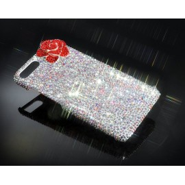 Rose Flower Bling Swarovski Crystal Phone Cases - White