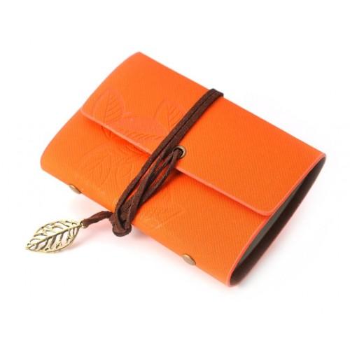 Leaf Pattern Leather Card Holder - Orange