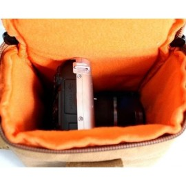 Canvas Compact System Camera Shoulder Bag - Blue
