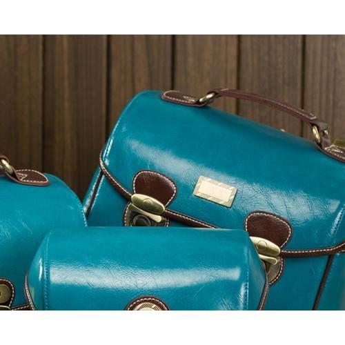 Retro DSLR Leather Shoulder Bag with Detatchable Strap - Blue