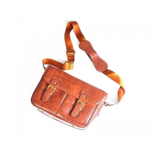 Retro PU Leather DSLR Camera Shoulder Bag - Brown