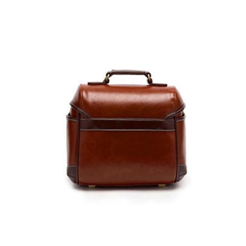Classic DSLR Leather Shoulder Bag with Detatchable Strap - Brown