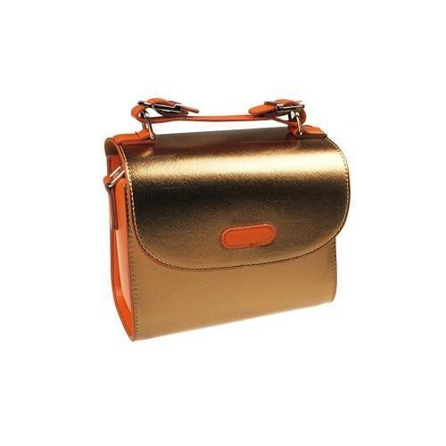 PU Leather Instax Camera Bag with Adjustable Shoulder Strap - Gold