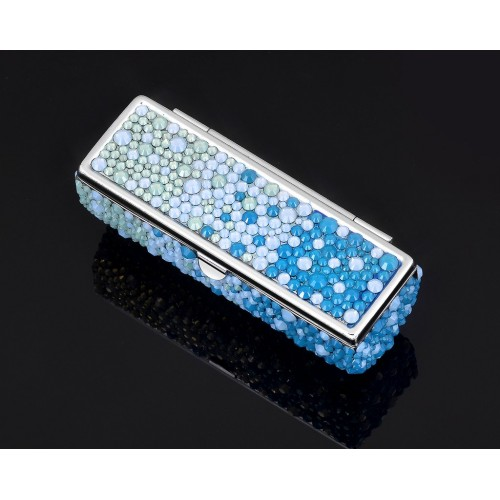 Gradation Swarovski Crystal Lipstick Case With Mirror - Blue