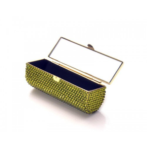 Classic Bling Swarovski Crystal Lipstick Case With Mirror – Green