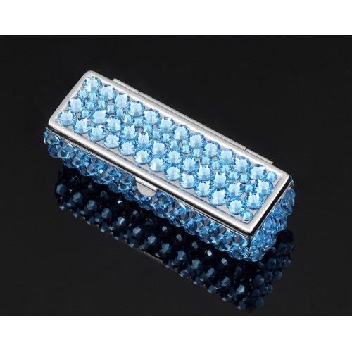 Classic Bling Swarovski Crystal Lipstick Case With Mirror - Sky Blue